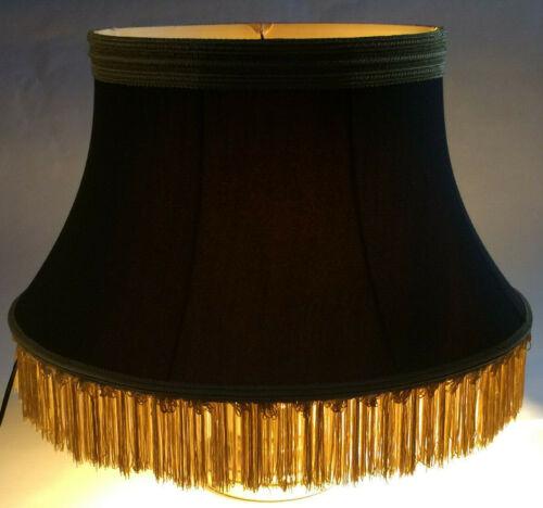 Black Softback Floor Lamp Shade w// Fringe Shallow Drum High Quality Fabric 840