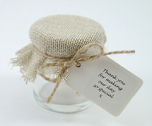 Image Is Loading Shabby Chic 10 100 Hessian Vintage Mini Jam