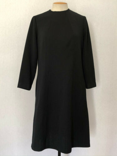 Vintage Dress L 60s Secretary Mock Neck Long Sleev