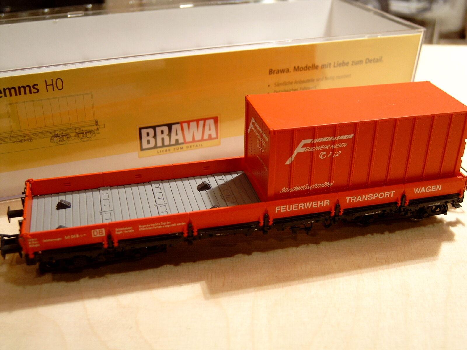 BRAWA 47101 DB 60 068 vigili del fuoco carro piatto Remms Hagen container Rungenwagen