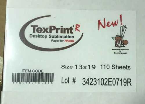 TexPrint R Sublimation Transfer Paper Box of 110 Sheets 13x19