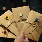 Retro Handmade Dry Flower Kraft Paper Greeting Card Festival Blessing Cards Hot