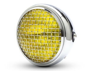 Headlight-for-Triumph-Cafe-Racer-Scrambler-Chrome-amp-Mesh-Grill-Yellow-Lens-7-7-034