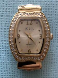 KJL-GOLD-TONE-WOMEN-WATCH-New-Battery-Vintage-Free-Shipping
