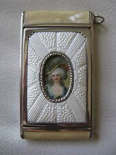 Antique Art Deco Silver T Faux Yellow Marble Woman Cameo Camera Compact GIREY