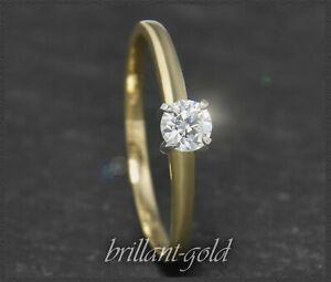 Brillant-585-Gold-Diamant-Ring-Solitaer-mit-0-33ct-River-D-Lupenrein-14-Karat