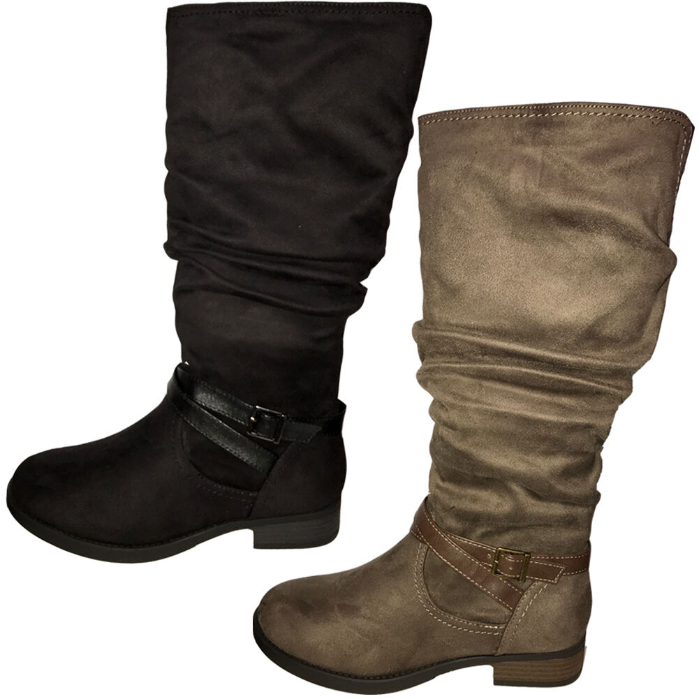 Women Riding Buckle Knee High Tall Faux Leather Zipper Military Dress Boots