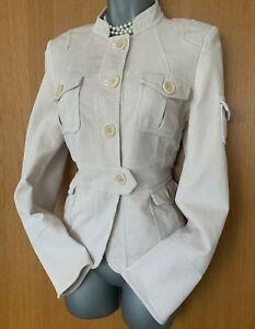 Karen-Millen-UK-12-Ivory-Beige-Corduroy-Casual-Formal-Classic-Blazer-Jacket-EU40