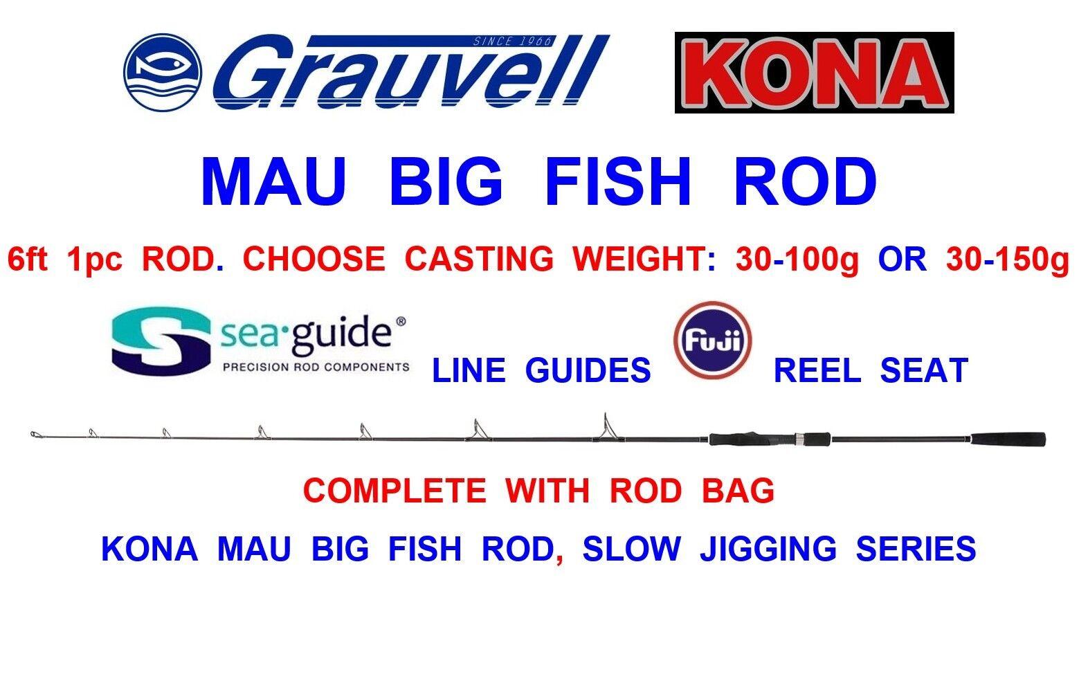 greyVELL KONA MAU BIG FISH ROD SLOW JIGGING BOAT FISHING TROLLING TUNA POPPING