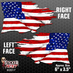 Usa Tattered Flag Sticker 2 Pack Mirrored American Bumper