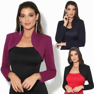 Femmes-Veste-Courte-Bolero-Blazer-Jacket-Manche-3-4-Gilet-Cardigan-Cache-Epaule