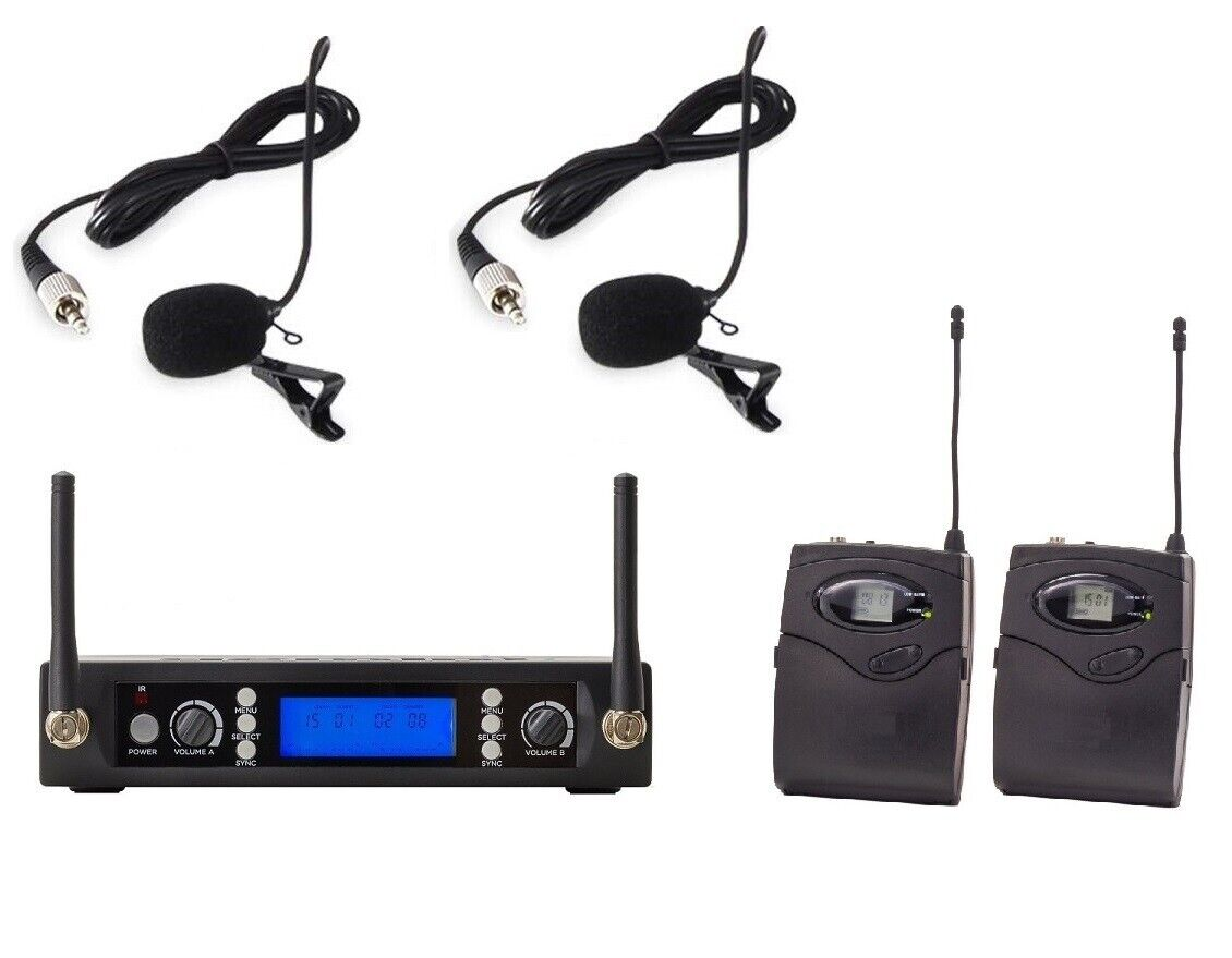 Wireless Lapel Microphone System UHF Dual Cordless Mike Lavalier mic Microphone