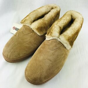 be8a98f98bdd LAMO Faux Sheepskin Fur Shoes Moccasin Slippers Mens 9 Brown Comfort ...
