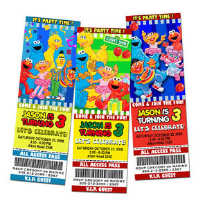 Elmo Sesame Street Birthday Party Invitation Ticket 1st Custom