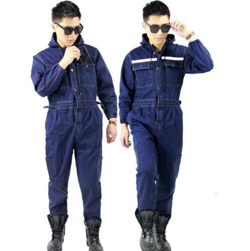 Mens Thick Denim Boiler suit Coveralls Overalls Welder Work wears Mechanics Suit