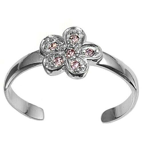 Flower Toe Ring Genuine Sterling Silver 925 Pink CZ Adjustable Face Height 7 mm