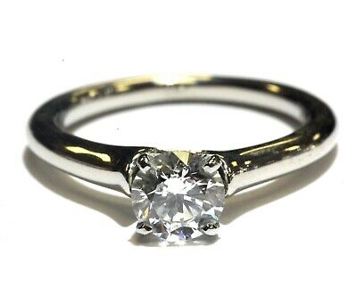 fde53cd204d94 GIA SI2 H certified 14k white gold .81ct round diamond solitaire engagement  ring | eBay