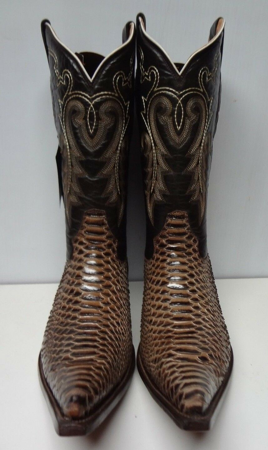 Men's  Python rustico cafe print leather  Western Cowboy Boots Size 13 C142
