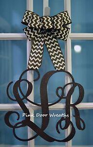 Made to Order Vine MONOGRAM DOOR HANGER brown white chevron burlap letter triple