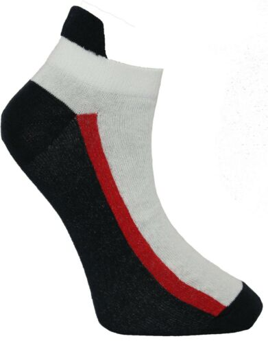 3 Pairs Mens Striped Short Trainer Liner GYM Sport Ankle Cotton Socks 6-11 Lot