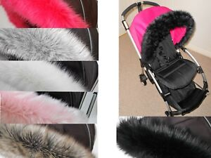 pram hood fur CHAMELEON pushchair BUFFALO DONKEY fur trim BUGABOO BEE