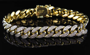 10Ct-Round-Cut-Diamond-Miami-Curb-Cuban-Link-Bracelet-14K-Solid-Yellow-Gold-Over