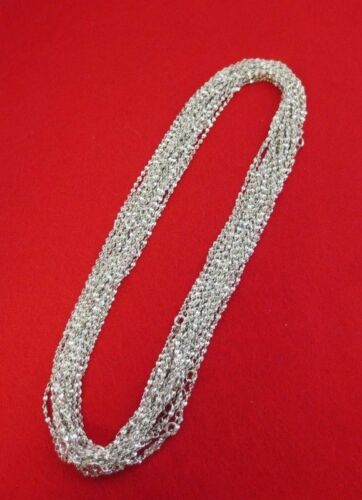 WHOLESALE LOT OF 25 14kt WHITE GOLD PLATED 16 INCH 2mm TWISTED NUGGET CHAINS