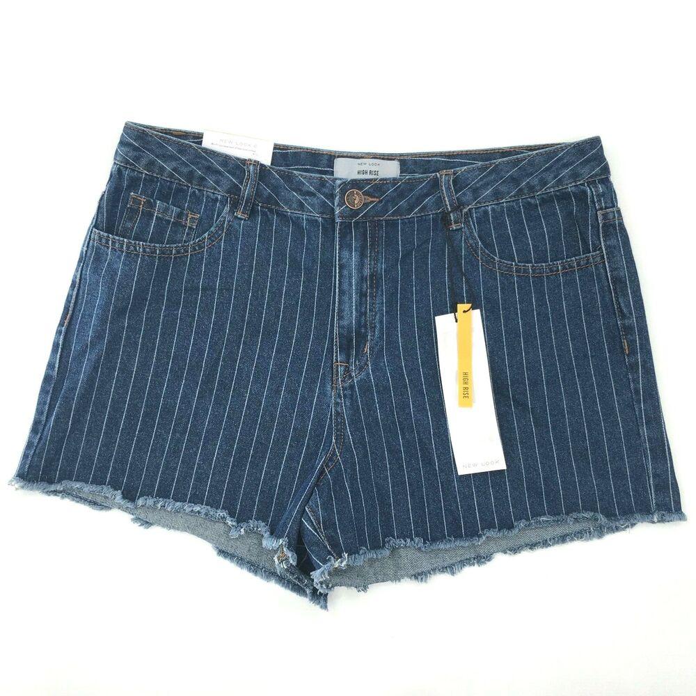 Women's Denim Pin Stripe Taille Haute Short Taille 14 Un Ourlet Effilé Pantalons Sexy (neuf)