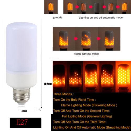 9W LED Burning Flicker Flame Effect Fire Light Bulb E27 E14 E12 B22 Decor Lamp