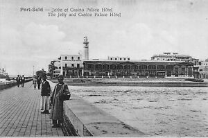 The-Jetty-And-Casino-Palace-Hotel-Port-Said-Egypt-Africa-Postcard