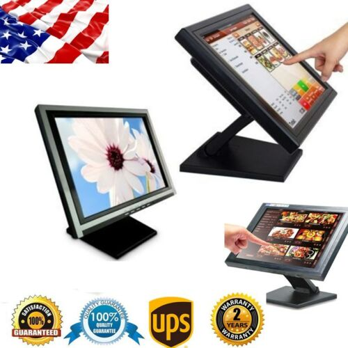 15 inch Touch Screen LED POS TFT Monitor Kiosk Restaurant Cafe Bar Retail  110V