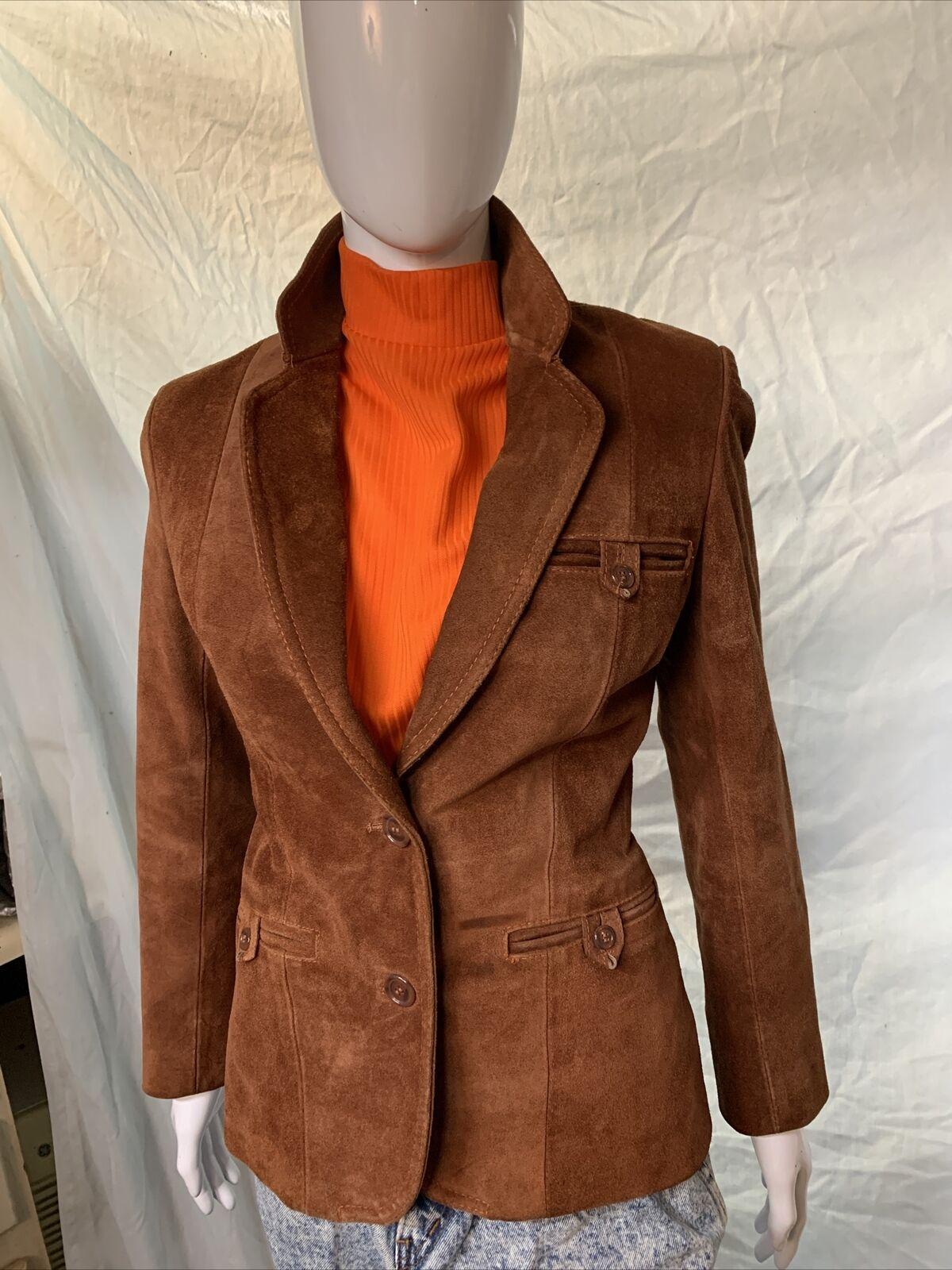 Vintage 1970s Casual Corner Leather Suede Brown J… - image 1