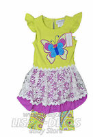 Girls Emily Rose 2 Piece Set Knit Top Shirt Legging Butterfly Outfit Purple 4t