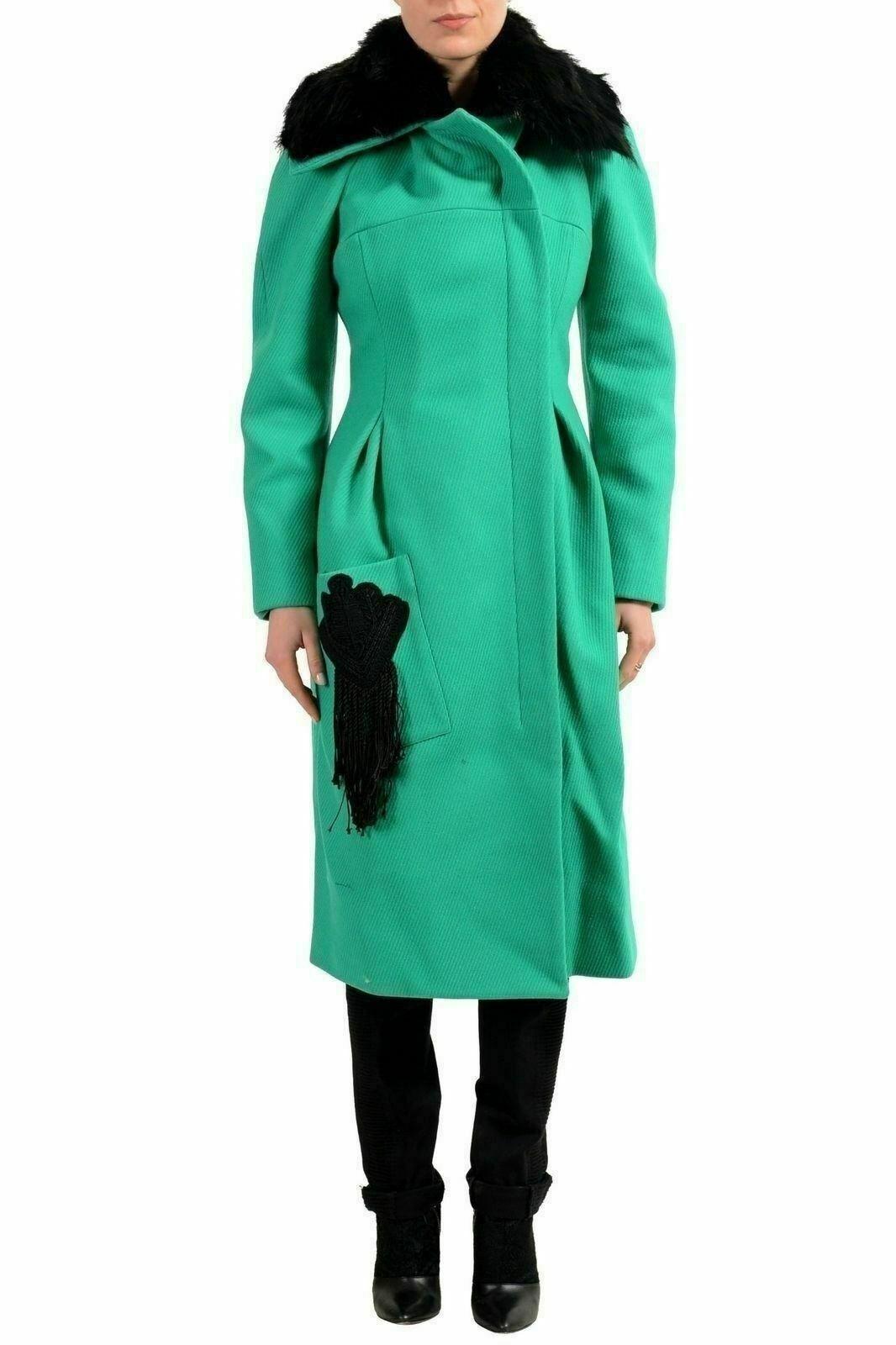 Just Cavalli Wolle Grün Reißverschluss Pelzrand Damen Mantel S It 40