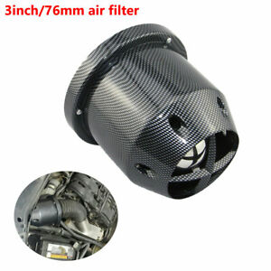 76mm-Car-SUV-High-Flow-Cold-Air-Intake-Filter-Cleaner-Carbon-Fiber-Durable