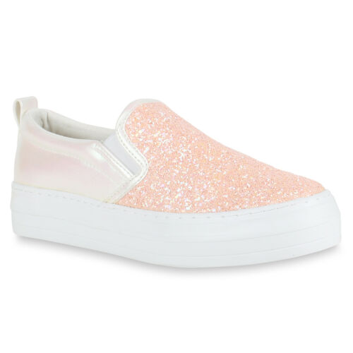 Damen Plateau Sneaker Slip-ons Glitzer Metallic Sneakers Slipper 816860 Schuhe