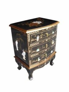 Image Is Loading Oriental Chinese Black Lacquer 3 Drawer Chest Bedside