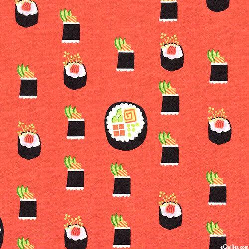 Maki Sushi Ginger Orange  Michael Miller Fabric FQ or More 100/%Cotton