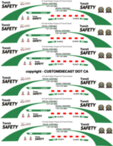 1//43 SCALE GO TRANSIT SAFETY DODGE CHARGER DECALS DOES 8 CARS NEW RELEASE!!!!