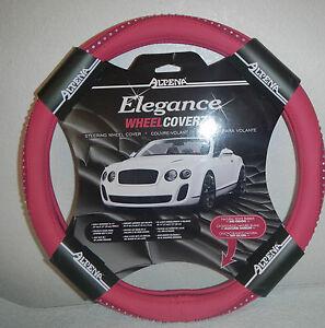 Image Is Loading Pink Bling Steering Wheel Cover Crystal Rhinestone