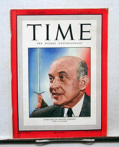 VG 1949 TIME Magazine Secretary of Defense Johnson on Cover June 6