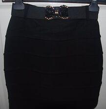 **PAPRIKA** Mini Black Bandage Party Skirt with Embellished Belt UK 6 EU34 BNWT
