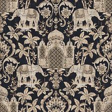 G67363 - Indo Chic Elephant Taj Mahal Beige Black Copper Galerie Wallpaper