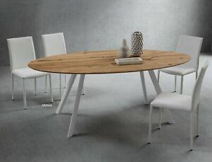 Piani Per Tavoli In Legno Vecchio.Tavolo Ovale Soggiorno Pr Nicola 209x116 Cm Piano Legno Rovere