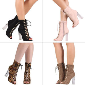 233a652bca Gold D-ring Corset Lace Up Peep Toe Clear Lucite Chunky Heel Ankle ...
