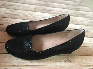 black wedge shoes size 37