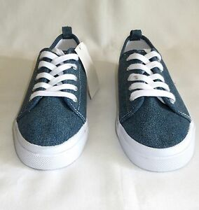 new with tag h m blue denim sneakers tennis shoes plimsol