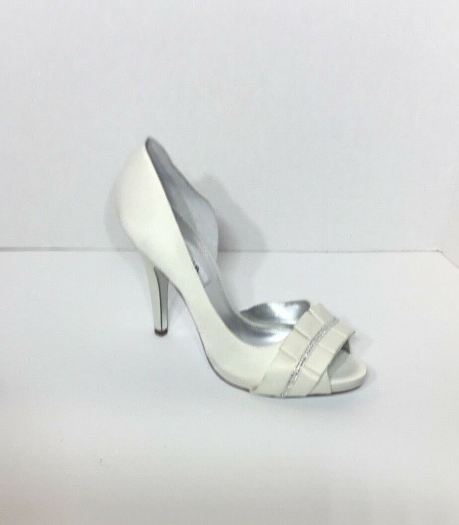 Women's Nina New York Elanna LS Ivory Rhinestones Open Toe Pump shoes Size 10 M