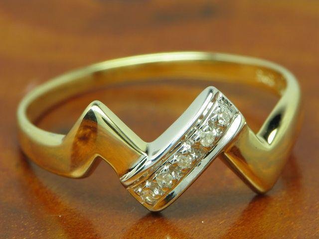 14kt 585 yellowgold Ring mit Diamant Besatz   1,9g   RG 57