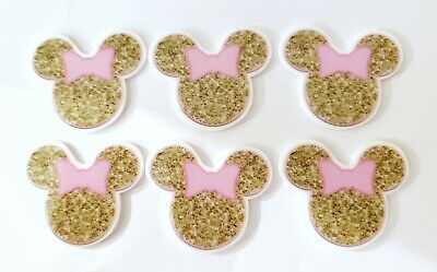 6PC Mickey Mouse Flatback Sprinkle Embellishment Cupcake Toppers Crafts Hair Bow